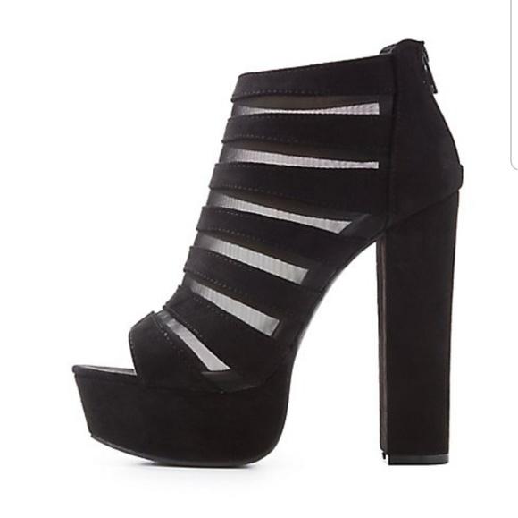 24c9a5338f93d Charlotte Russe Mesh Inset Peep Toe Platform Boots